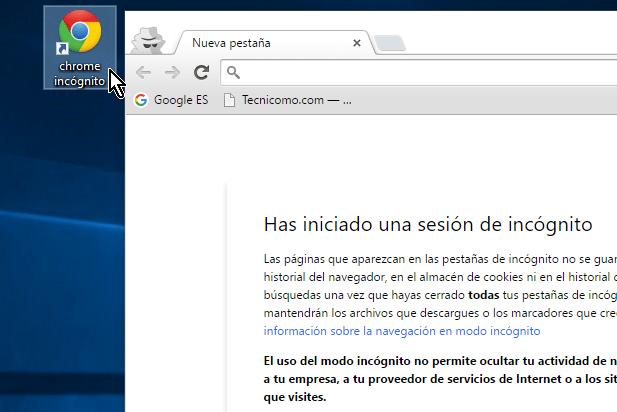 Google Chrome es lanzado en modo incógnito desde el comienzo en cómo lanzar Google Chrome en modo incógnito con un acceso directo