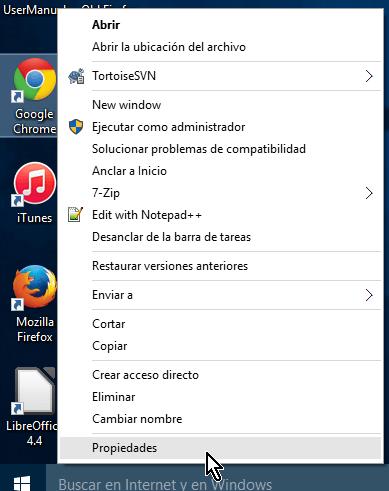 Opción Propiedades luego de clic derecho en el icono original de Chrome en cómo lanzar Google Chrome en modo incógnito con un acceso directo