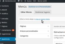 Dale clic al enlace crear un nuevo menú en cómo personalizar un menú en WordPress