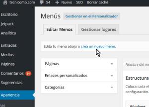Cómo personalizar un menú en WordPress