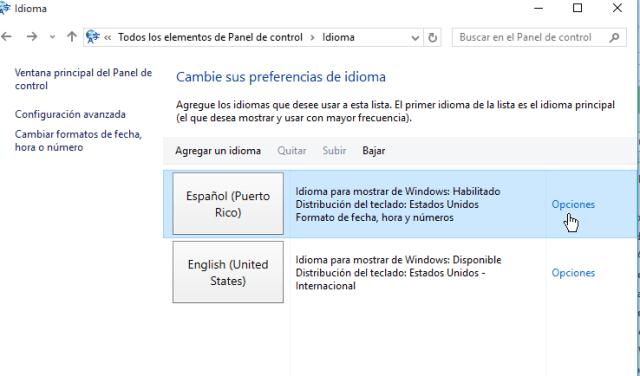 Al lado del idioma Español dale clic a opciones en cómo escribir tildes, eñe y diéresis con un teclado en inglés