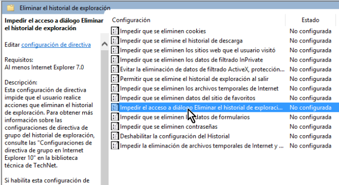 Selección de Impedir el acceso a diálogo Eliminar en cómo deshabilitar el botón Eliminar el historial de Internet Explorer