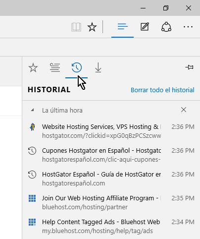 Botón para mostrar el Historial en cómo borrar el historial de Microsoft Edge