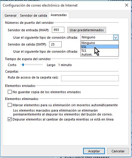 Para IMAP selecciona conexión cifrada SSL en cómo configurar tu cuenta de Gmail en Outlook 2013 usando IMAP