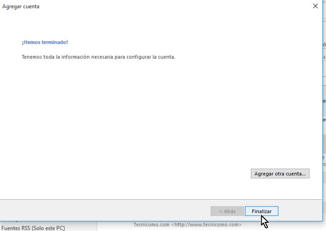 Ventana que indica que hemos terminado de configurar la cuenta  en cómo configurar tu cuenta de Gmail en Outlook 2013 usando IMAP