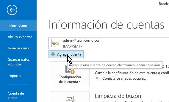 Botón Agregar cuenta en cómo configurar tu cuenta de Gmail en Outlook 2013 usando IMAP