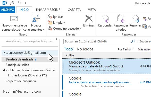 Tu cuenta de Gmail desde la pestaña Inicio de Outlook 2013  en cómo configurar tu cuenta de Gmail en Outlook 2013 usando IMAP