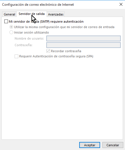 Pestaña Servidor de salida en cómo configurar tu cuenta de Gmail en Outlook 2013 usando IMAP