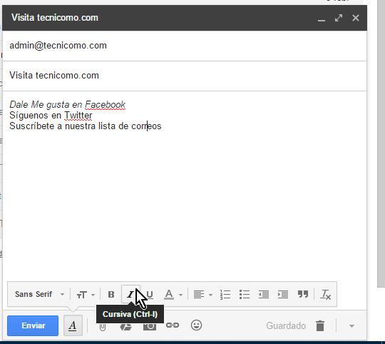 Botón para aplica el formato cursiva en cómo usar las opciones de formato en Gmail