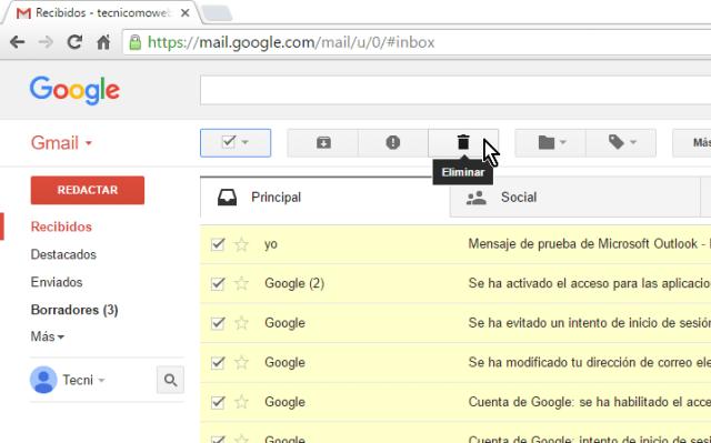 Botón Eliminar en cómo borrar todos los correros de Gmail