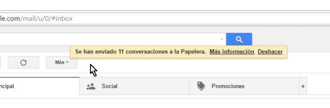 Mensaje confirmando eliminación de los mensajes en cómo borrar todos los correros de Gmail