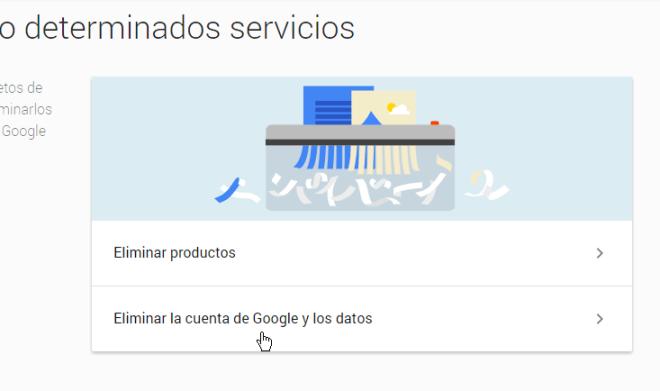 Opción Eliminar la cuenta de Google y los datos en cómo borrar una cuenta de Google