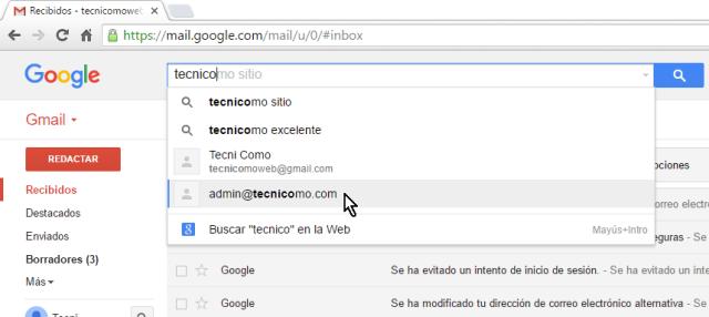 Sugerencias dadas por Gmail al buscar mensajes en cómo buscar correos en Gmail