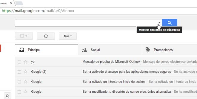 Botón para mostrar las opciones avanzadas de búsqueda en cómo buscar correos en Gmail