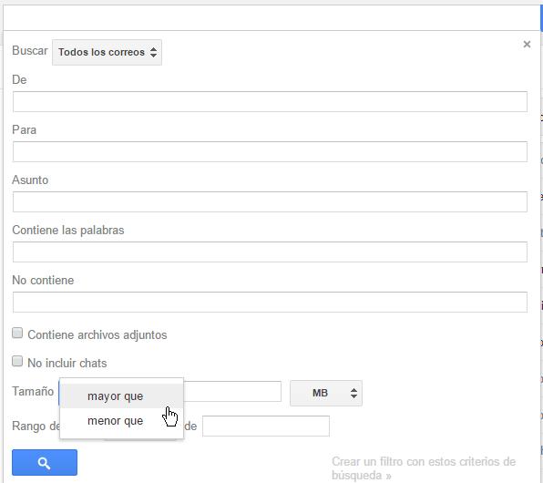 Menú desplegable para clasificar tamaño en cómo buscar correos en Gmail