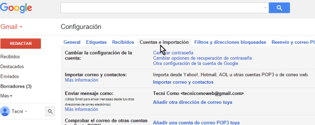 Pestaña Cuentas e importación en cómo eliminar una cuenta de Gmail