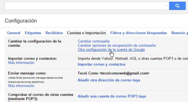 Opción Otra configuración de la cuenta de de Google en cómo eliminar una cuenta de Gmail