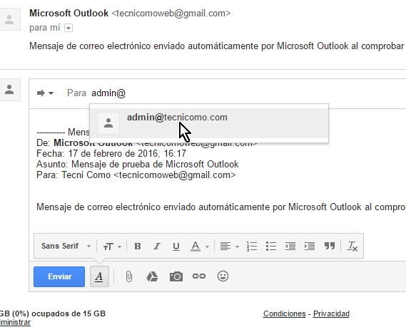 Escribe la dirección de correo del destinatario en cómo reenviar un correo en Gmail