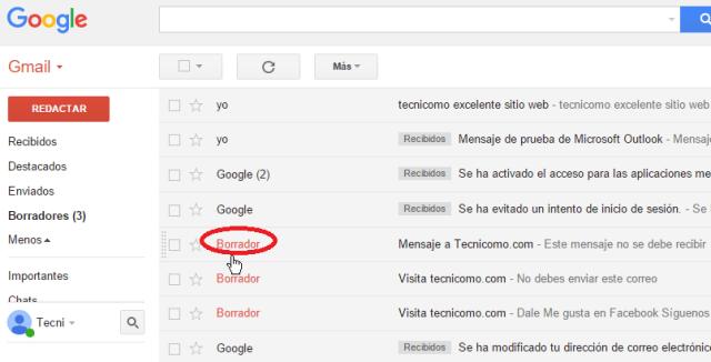 Indicador de que un correo en borrador en cómo ver todos los mensajes de Gmail