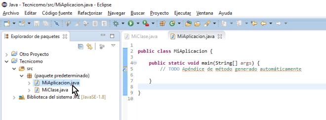 Método main debidamente creado en cómo crear un método main de Java en Eclipse