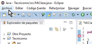 Opción Archivo del menú principal de Eclipse en cómo crear un paquete de Java en Eclipse