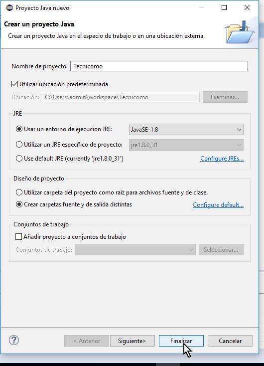 Botón Finalizar en cómo crear un proyecto básico de Java en Eclipse