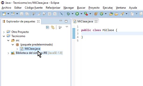 Clase debidamente creada en el proyecto y el código fuente en el editor en cómo crear una clase de Java en Eclipse