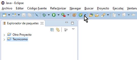 Botón para crea clase en la barra de herramientas en cómo crear una clase de Java en Eclipse
