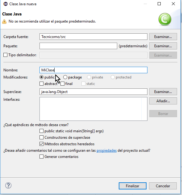 Dándole nombre a la clase en cómo crear una clase de Java en Eclipse
