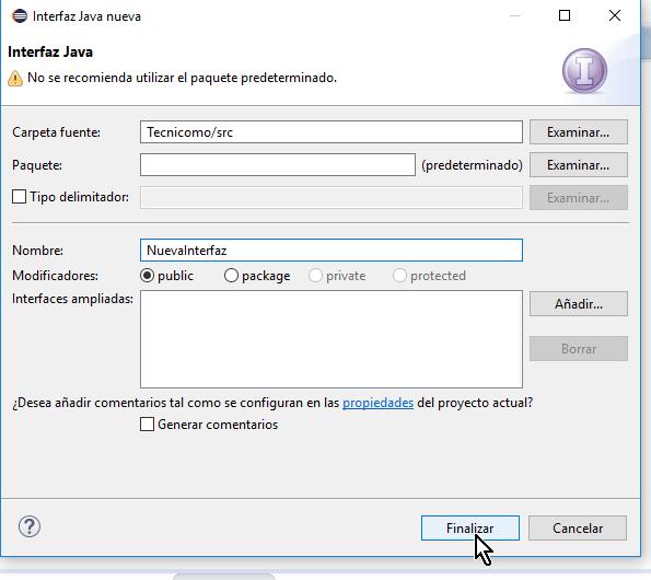 Botón Finalizar en cómo crear una interfaz de Java en Eclipse