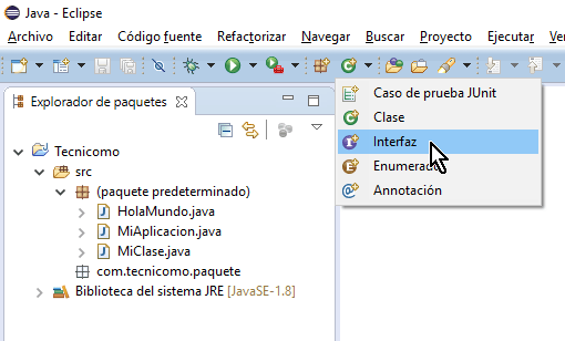 Botón Interfaz de la barra de herramientas en cómo crear una interfaz de Java en Eclipse