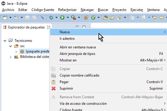 Opción Nueva desde el Explorador de paquetes en cómo crear una interfaz de Java en Eclipse