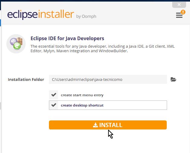 Botón para proceder con la instalación de Eclipse en cómo descargar e instalar Eclipse IDE