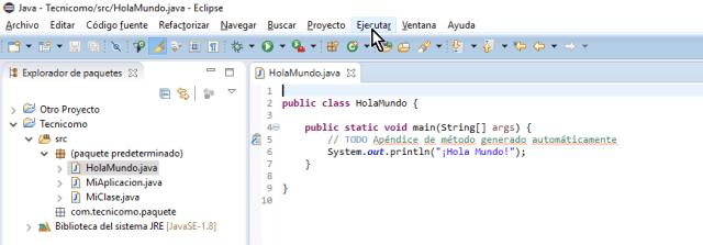Opción Ejecutar del menú principa; de Eclispe en cómo ejecutar un programa de Java en Eclipse