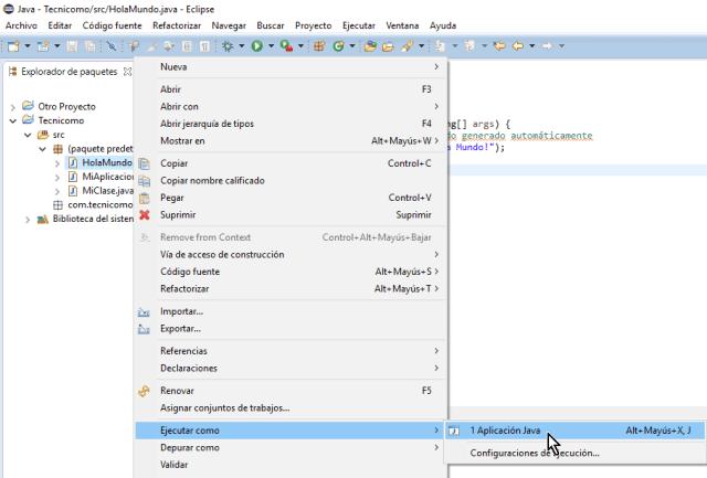 Opción Aplicación Java en cómo ejecutar un programa de Java en Eclipse