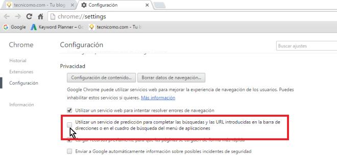 Desmarcando la casilla en cómo eliminar todas las sugerencias de búsquedas en Google Chrome
