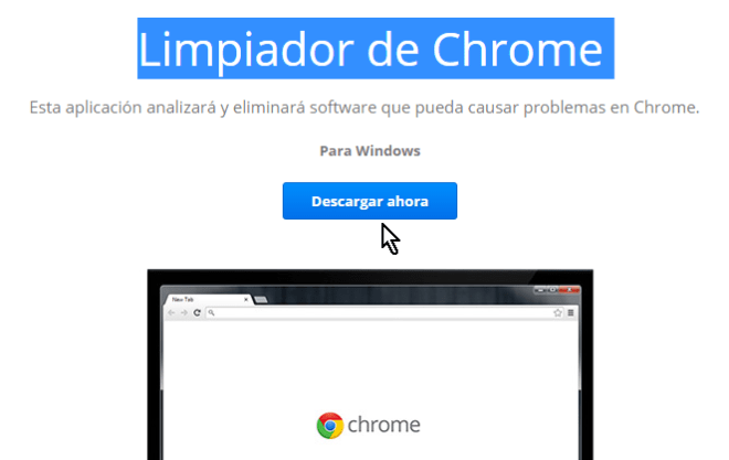 Botón Descargar ahora en cómo limpiar Google Chrome de software malintencionado