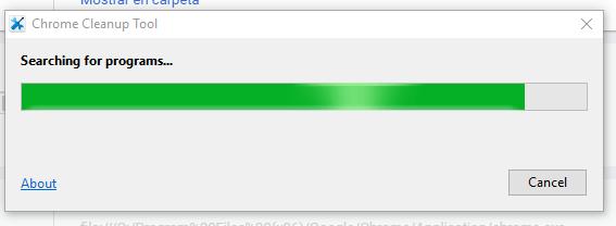 Barra de progreso en cómo limpiar Google Chrome de software malintencionado