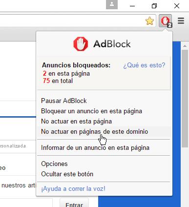 Opción No actuar en páginas de este dominio de AdBlock Plus