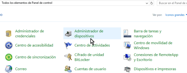 Elementos de Panel de control en cómo acceder el Administrador de dispositivos en Windows 10