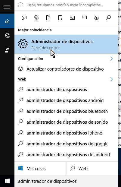 Sugerencias de Windows a medida que escribes en cómo acceder el Administrador de dispositivos en Windows 10