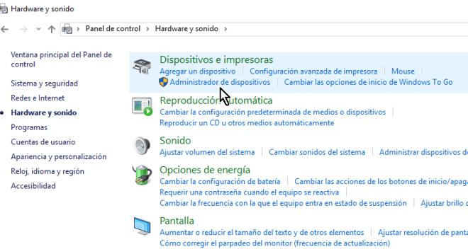 Selección bajo Dispositivos e impresoras en cómo acceder el Administrador de dispositivos en Windows 10