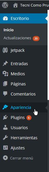 Opción Aparciencia del Escritorio de WordPress en cómo instalar un tema de WordPress desde un archivo zip