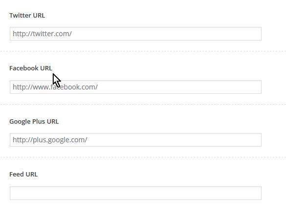Campo para entrar la URL de los perfiles en las diferentes redes sociales en cómo personalizar las opciones del encabezado del tema FreshLife de WordPress
