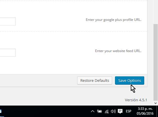 Botón Save Options para guardar los cambios en cómo personalizar las opciones del encabezado del tema FreshLife de WordPress