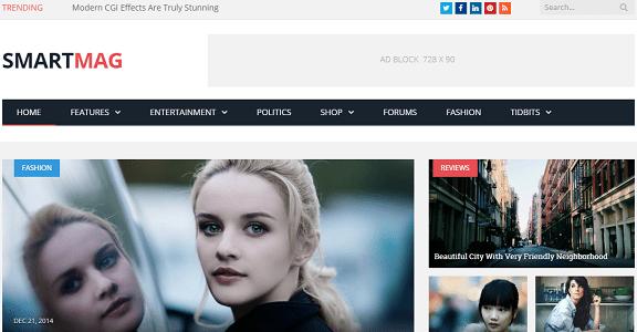Plantilla o tema SmartMag en lista de excelentes temas de WordPress para blogs