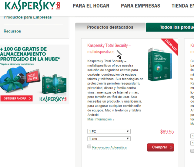 Ventana para descargar el antivirus Kaspersky Total Security multidispositivos