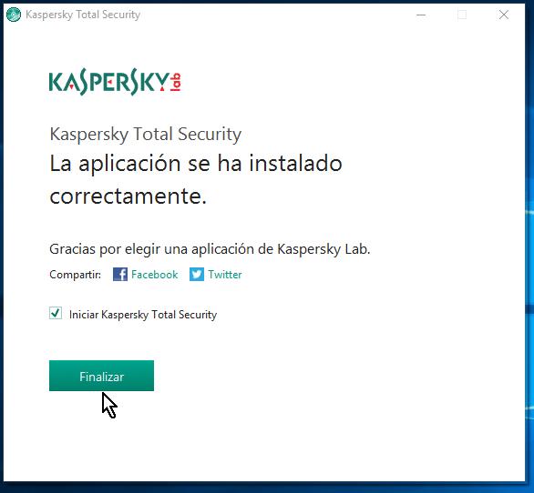 Botón para finalizar la instalación del antivirus Kaspersky Total Security multidispositivos