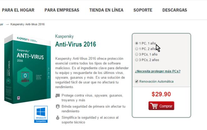 Selección de la licencia en cómo descargar e instalar Kaspersky Antivirus 2016
