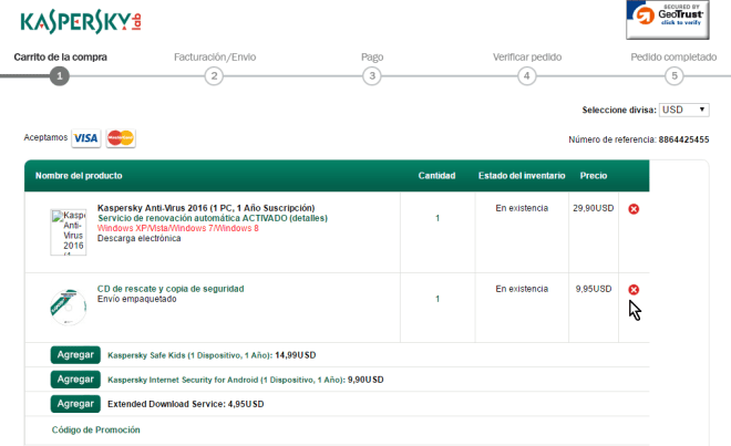 Productos en el carrito de comprar en cómo descargar e instalar Kaspersky Antivirus 2016